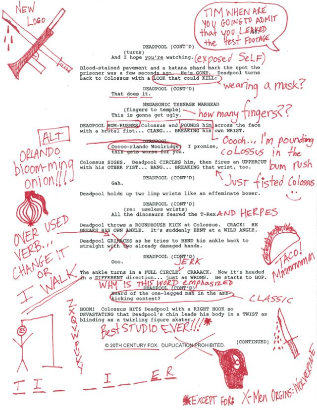 deadpool muestra guion
