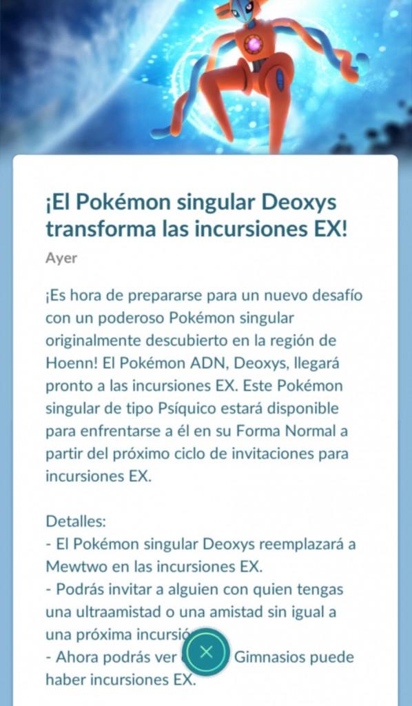Deoxys Incursiones EX Pokémon Go