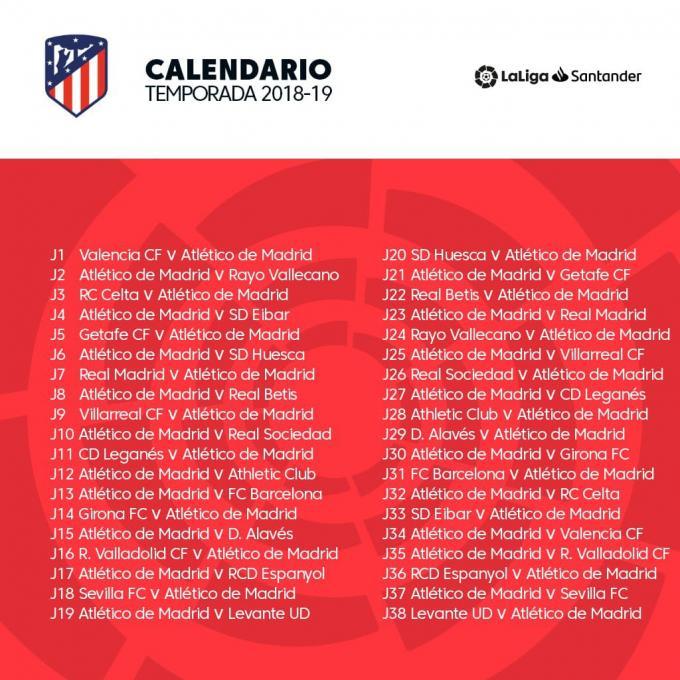 Calendario Completo.Calendario Completo De Laliga Del Atletico De Madrid 18 19
