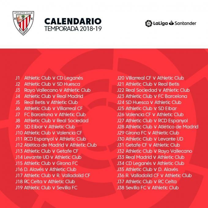 Athletic Bilbao Calendario.Athletic Club Calendario Completo Del Campeonato De Liga