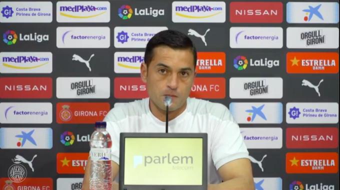 Francisco, entrenador del Girona, durante la rueda de prensa.