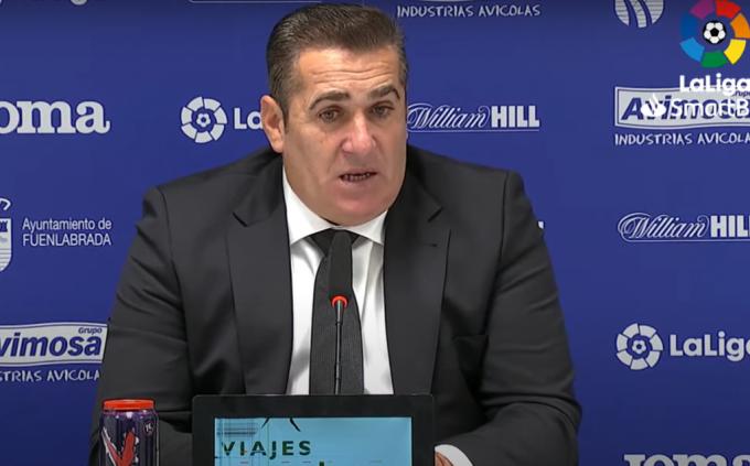 Sandoval, en rueda de prensa tras el Fuenlabrada-Málaga.