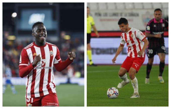 Appiah y Robertone, esta temporada (Fotos: LaLiga / UD Almería).