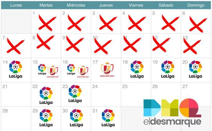 El calendario de los equipos de LaLiga Santander hasta final de año.