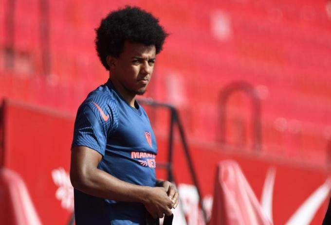 Koundé, en un entrenamiento del Sevilla (Foto: Kiko Hurtado).