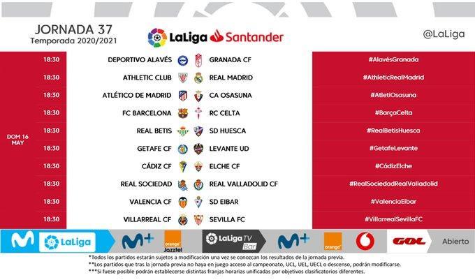 37 horas de la jornada de LaLiga Santander.