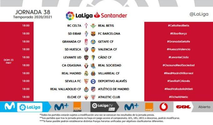 38 horas de la jornada de LaLiga Santander.