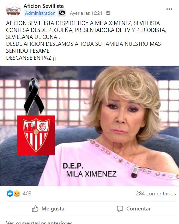 El sevillismo se despide de Mila Ximénez.