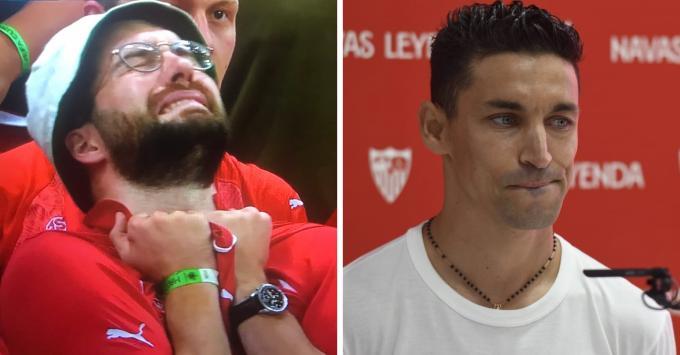 La imagen viral de un aficionado suizo y Jesús Navas