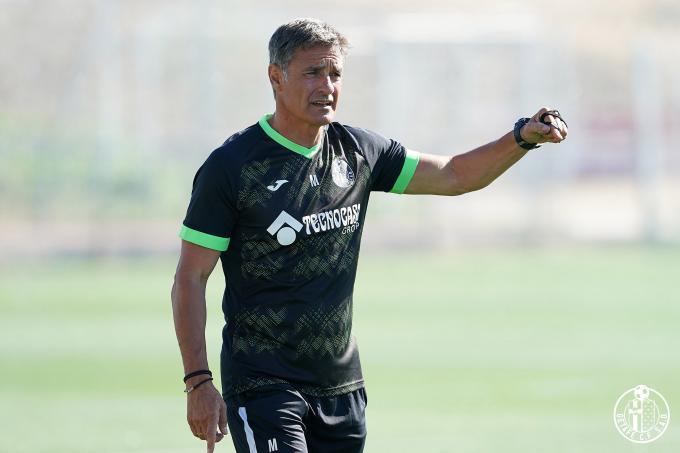 Míchel, durante un entrenamiento con el Getafe (Foto: GCF):