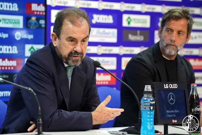 Ángel Torres, en la presentación de Quique Sánchez Flores como entrenador del Getafe (Foto: GCF)